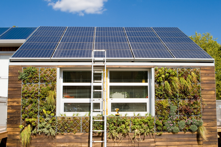 House with photovoltaic solar panels